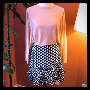 JCREW navy polka dot skirt with ruffle
